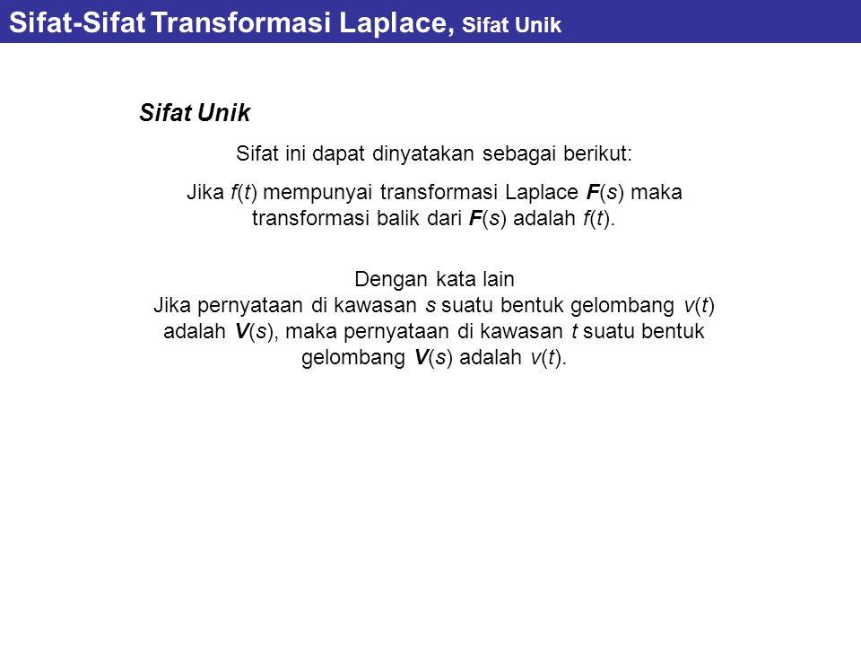 Sifat-Sifat Transformasi Laplace, Sifat Unik Sifat Unik Sifat ini dapat dinyatakan sebagai berikut: Jika f(t) mempunyai transformasi Laplace F(s) maka
