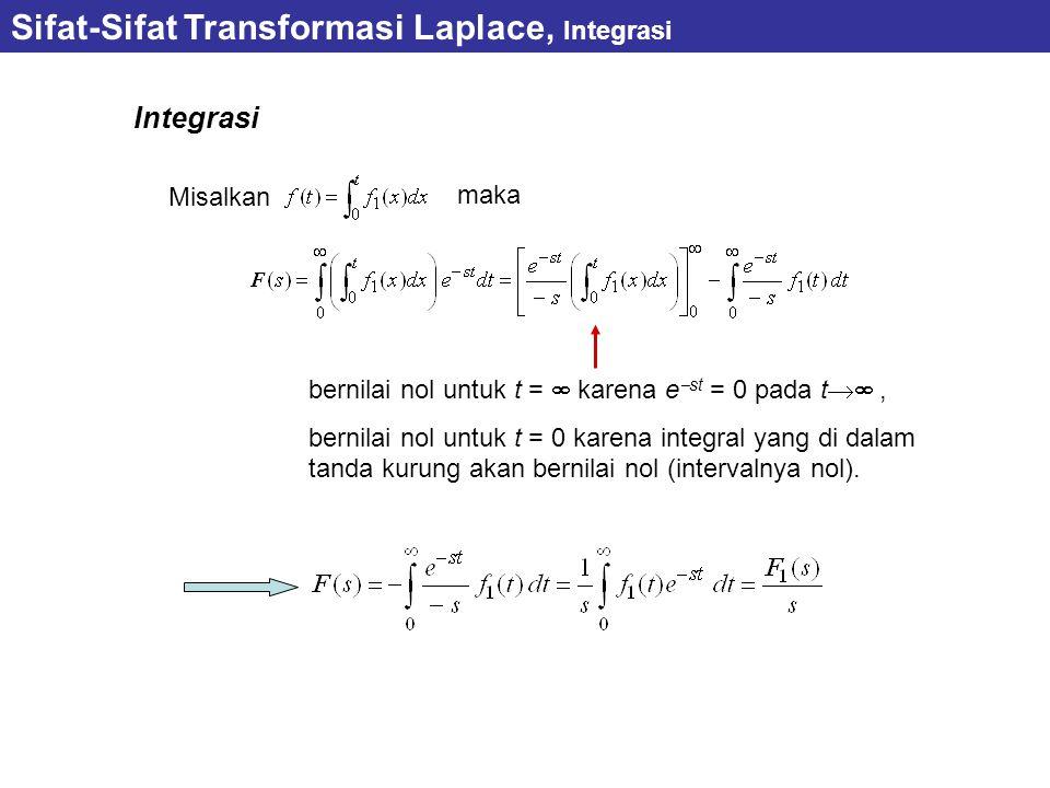 Sifat-Sifat Transformasi Laplace, Integrasi Integrasi Misalkan maka bernilai nol untuk t =  karena e  st = 0 pada t , bernilai nol untuk t = 0 karena integral yang di dalam tanda kurung akan bernilai nol (intervalnya nol).