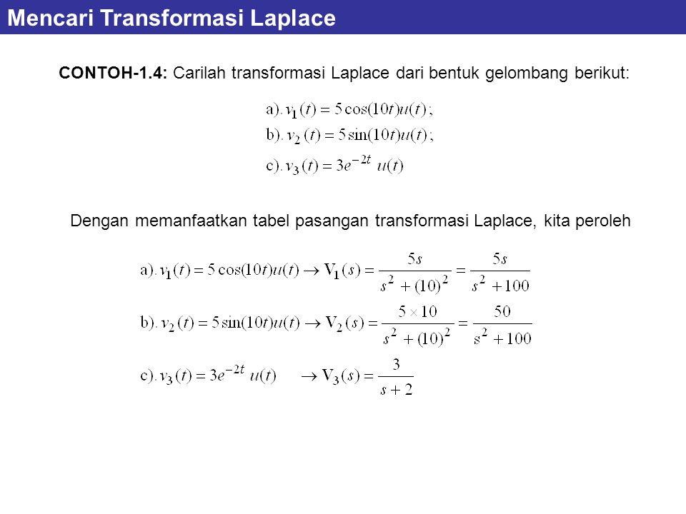 CONTOH-1.4: Carilah transformasi Laplace dari bentuk gelombang berikut: Mencari Transformasi Laplace Dengan memanfaatkan tabel pasangan transformasi Laplace, kita peroleh