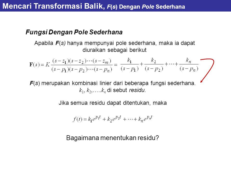 Mencari Transformasi Balik, F(s) Dengan Pole Sederhana Fungsi Dengan Pole Sederhana Apabila F(s) hanya mempunyai pole sederhana, maka ia dapat diuraikan sebagai berikut F(s) merupakan kombinasi linier dari beberapa fungsi sederhana.