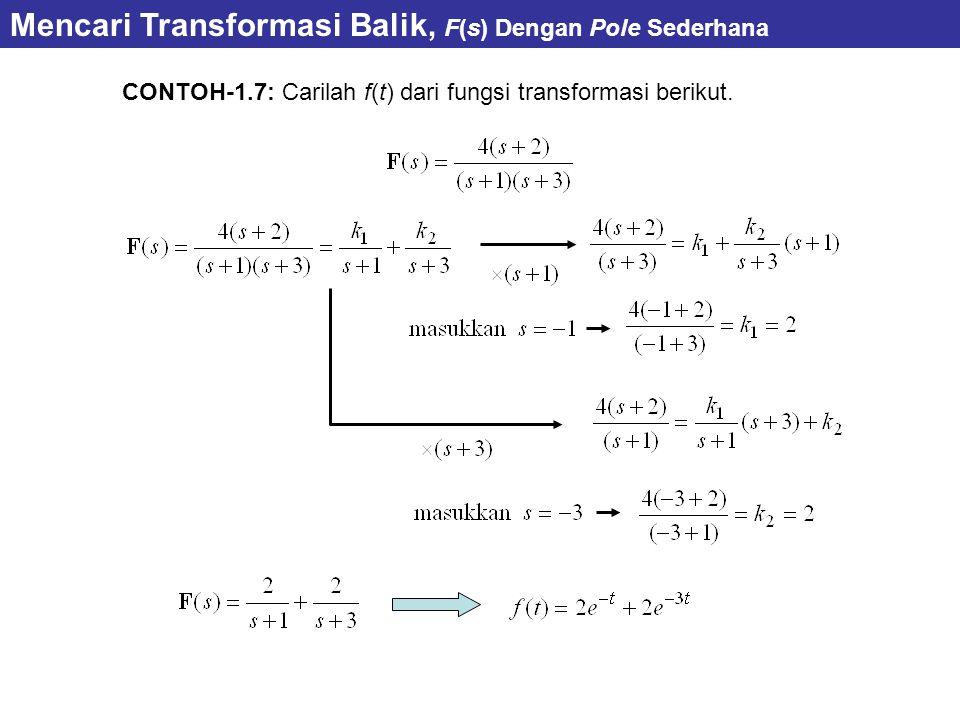 CONTOH-1.7: Carilah f(t) dari fungsi transformasi berikut. Mencari Transformasi Balik, F(s) Dengan Pole Sederhana