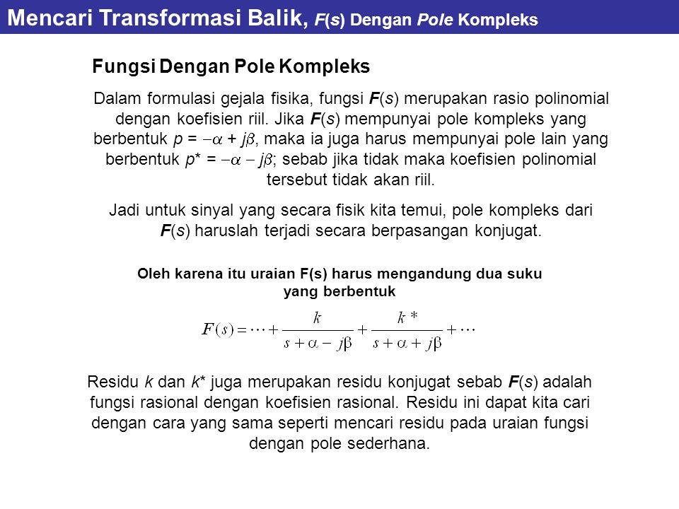 Fungsi Dengan Pole Kompleks Dalam formulasi gejala fisika, fungsi F(s) merupakan rasio polinomial dengan koefisien riil. Jika F(s) mempunyai pole komp