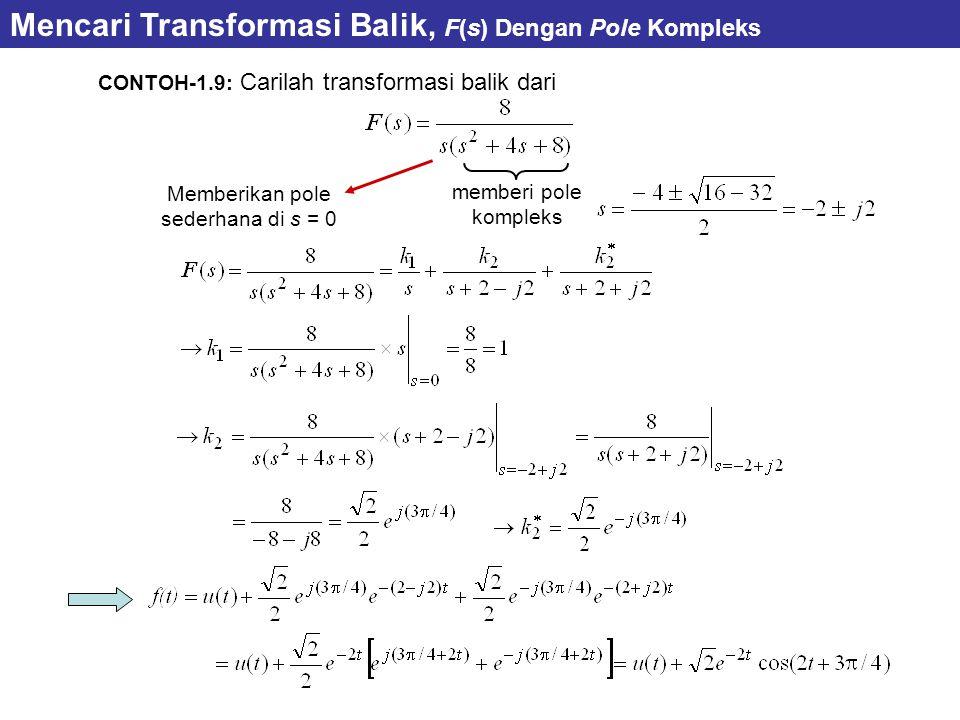 CONTOH-1.9: Carilah transformasi balik dari Memberikan pole sederhana di s = 0 Mencari Transformasi Balik, F(s) Dengan Pole Kompleks memberi pole kompleks