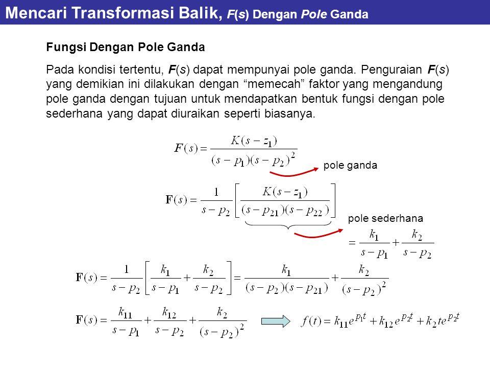 Fungsi Dengan Pole Ganda Pada kondisi tertentu, F(s) dapat mempunyai pole ganda.
