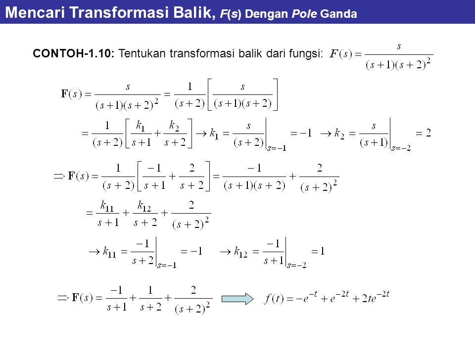 CONTOH-1.10: Tentukan transformasi balik dari fungsi: Mencari Transformasi Balik, F(s) Dengan Pole Ganda