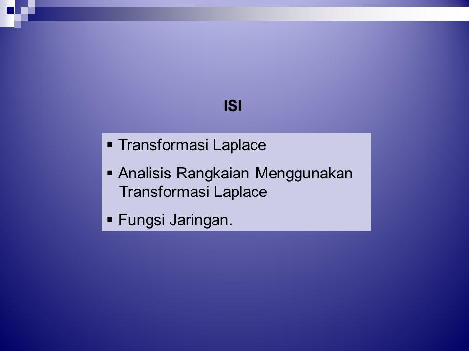  Transformasi Laplace  Analisis Rangkaian Menggunakan Transformasi Laplace  Fungsi Jaringan. ISI