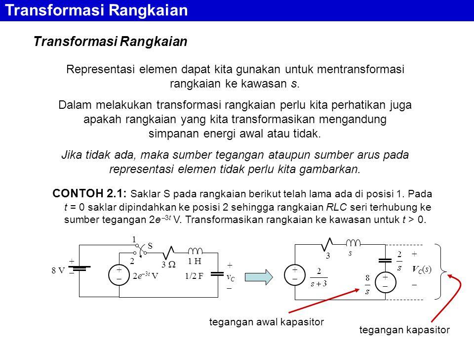 Transformasi Rangkaian Representasi elemen dapat kita gunakan untuk mentransformasi rangkaian ke kawasan s. Dalam melakukan transformasi rangkaian per