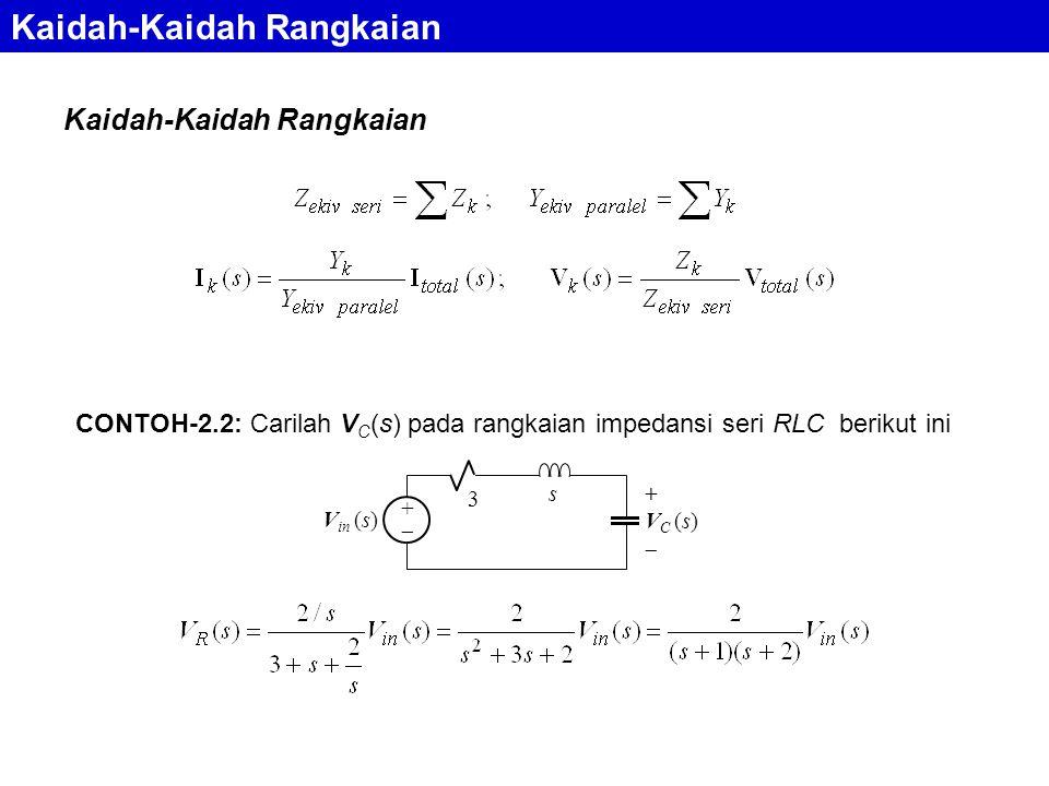 Kaidah-Kaidah Rangkaian CONTOH-2.2: Carilah V C (s) pada rangkaian impedansi seri RLC berikut ini s 3 ++ + V C (s)  V in (s)