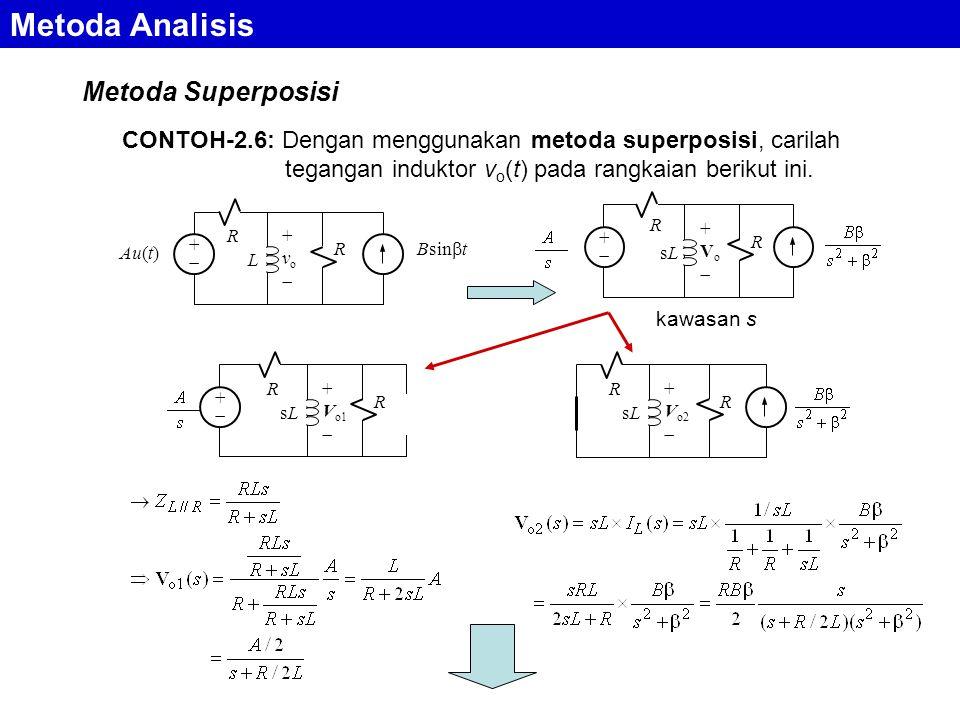 Metoda Analisis Metoda Superposisi CONTOH-2.6: Dengan menggunakan metoda superposisi, carilah tegangan induktor v o (t) pada rangkaian berikut ini. +