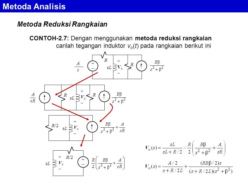 Metoda Reduksi Rangkaian Metoda Analisis CONTOH-2.7: Dengan menggunakan metoda reduksi rangkaian carilah tegangan induktor v o (t) pada rangkaian berikut ini ++ R sLsL +Vo+Vo R R sLsL +Vo+Vo R R/2 sLsL +Vo+Vo sLsL +Vo+Vo ++