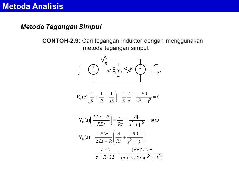 Metoda Analisis Metoda Tegangan Simpul ++ R sLsL +Vo+Vo R CONTOH-2.9: Cari tegangan induktor dengan menggunakan metoda tegangan simpul.