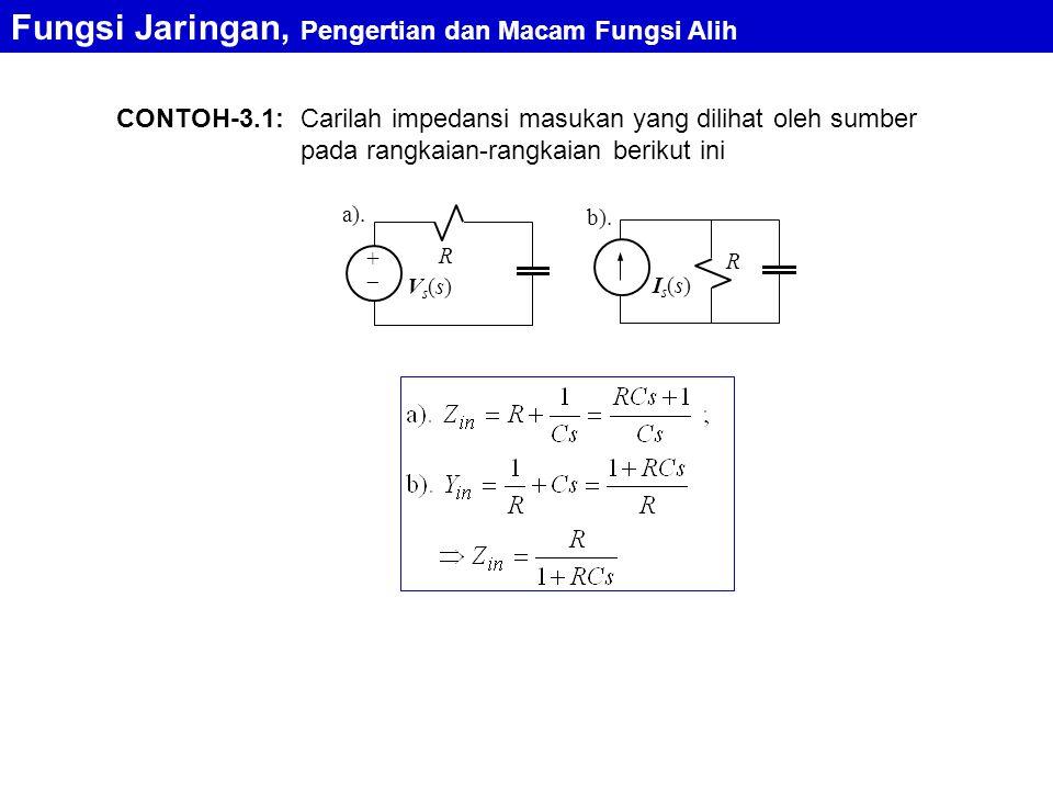 CONTOH-3.1: Fungsi Jaringan, Pengertian dan Macam Fungsi Alih a). R ++ Vs(s)Vs(s) R Is(s)Is(s) b). Carilah impedansi masukan yang dilihat oleh sumbe