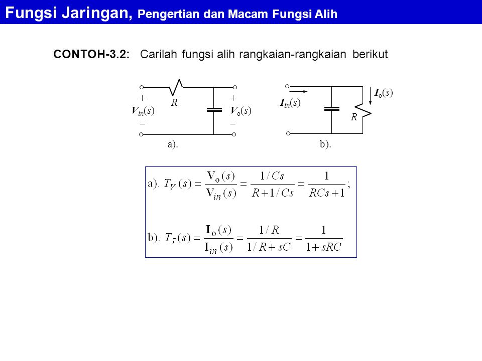Carilah fungsi alih rangkaian-rangkaian berikutCONTOH-3.2: Fungsi Jaringan, Pengertian dan Macam Fungsi Alih a). R + V in (s)  +Vo(s)+Vo(s) R I in
