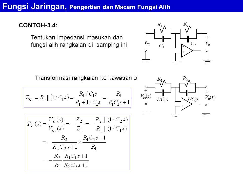 CONTOH-3.4: Fungsi Jaringan, Pengertian dan Macam Fungsi Alih Tentukan impedansi masukan dan fungsi alih rangkaian di samping ini ++ R2R2 + v in  + v o  R1R1 C1C1 C2C2 Transformasi rangkaian ke kawasan s ++ R2R2 + V in (s)  + V o (s)  R1R1 1/C 1 s1/C 2 s