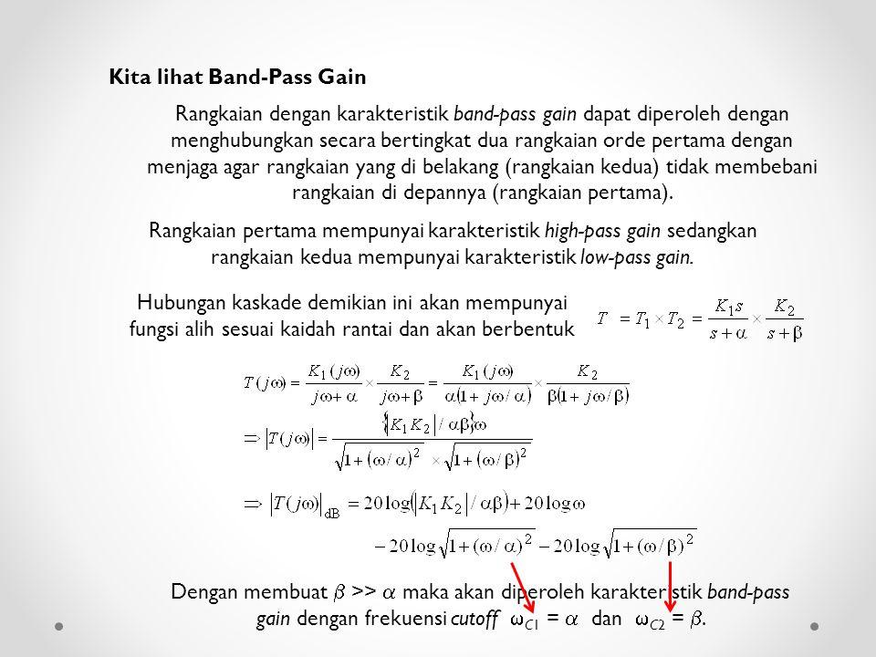Kita lihat Band-Pass Gain Rangkaian dengan karakteristik band-pass gain dapat diperoleh dengan menghubungkan secara bertingkat dua rangkaian orde pert