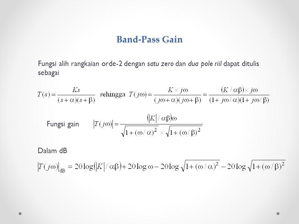 Band-Pass Gain Fungsi alih rangkaian orde-2 dengan satu zero dan dua pole riil dapat ditulis sebagai Fungsi gain Dalam dB