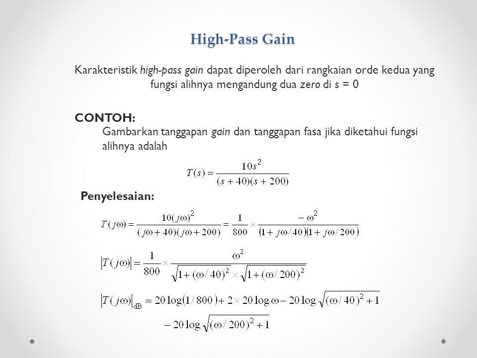 High-Pass Gain Karakteristik high-pass gain dapat diperoleh dari rangkaian orde kedua yang fungsi alihnya mengandung dua zero di s = 0 CONTOH: Gambark