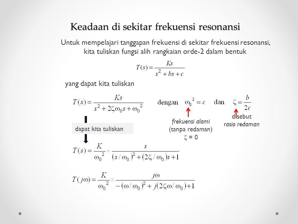Keadaan di sekitar frekuensi resonansi yang dapat kita tuliskan Untuk mempelajari tanggapan frekuensi di sekitar frekuensi resonansi, kita tuliskan fu