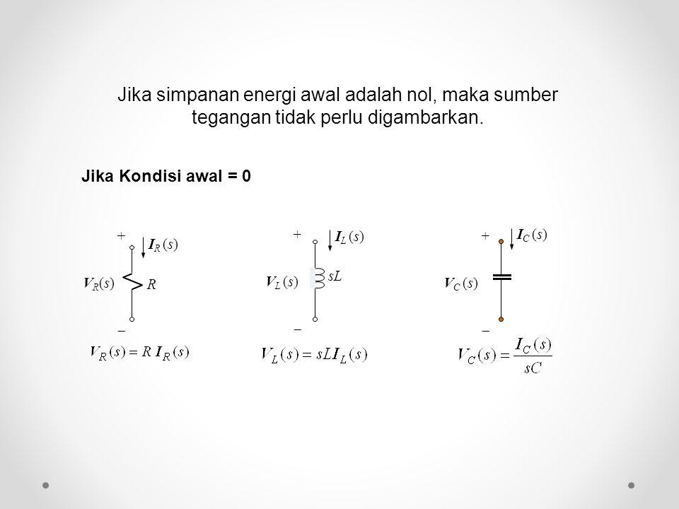Jika Kondisi awal = 0 R I R (s) +VR(s)+VR(s) sL + V L (s)  I L (s) + V C (s)  I C (s) Jika simpanan energi awal adalah nol, maka sumber tegangan t
