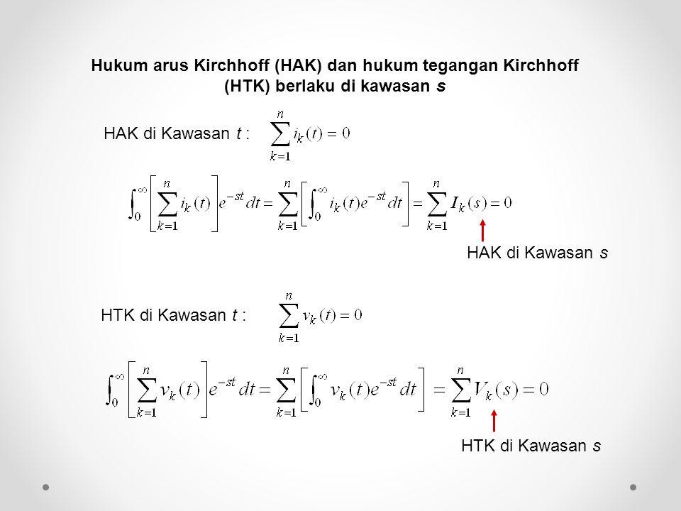 Hukum arus Kirchhoff (HAK) dan hukum tegangan Kirchhoff (HTK) berlaku di kawasan s HAK di Kawasan t : HAK di Kawasan s HTK di Kawasan t : HTK di Kawas