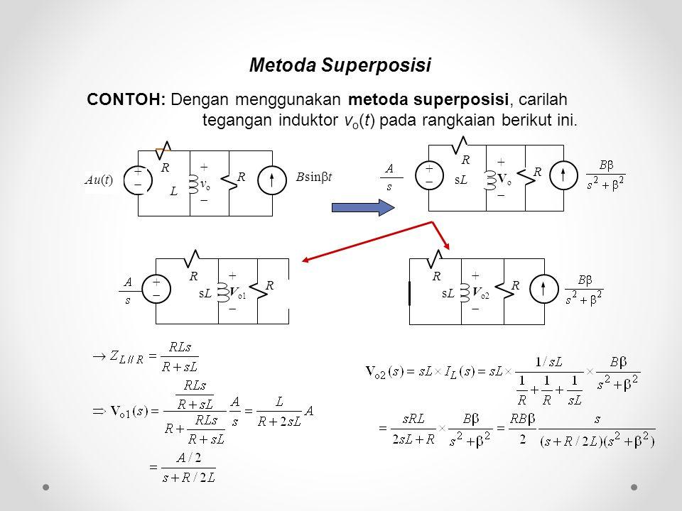 Metoda Superposisi CONTOH: Dengan menggunakan metoda superposisi, carilah tegangan induktor v o (t) pada rangkaian berikut ini. ++ Bsin  t Au(t) R