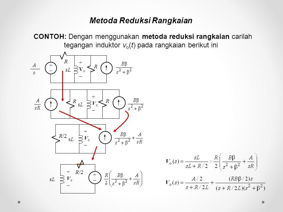 Metoda Reduksi Rangkaian CONTOH: Dengan menggunakan metoda reduksi rangkaian carilah tegangan induktor v o (t) pada rangkaian berikut ini ++ R sLsL