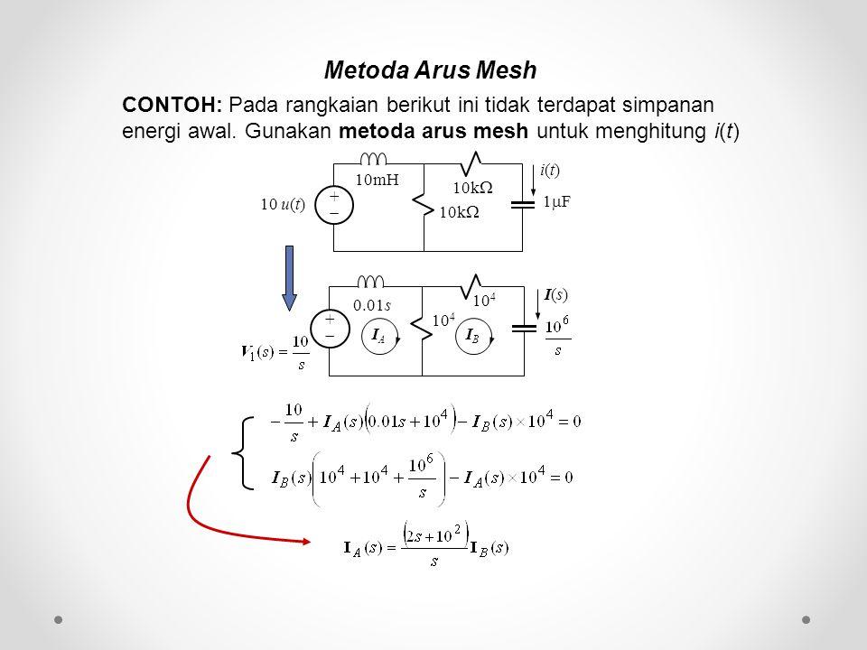 Metoda Arus Mesh CONTOH: Pada rangkaian berikut ini tidak terdapat simpanan energi awal. Gunakan metoda arus mesh untuk menghitung i(t) ++ 10k  10m