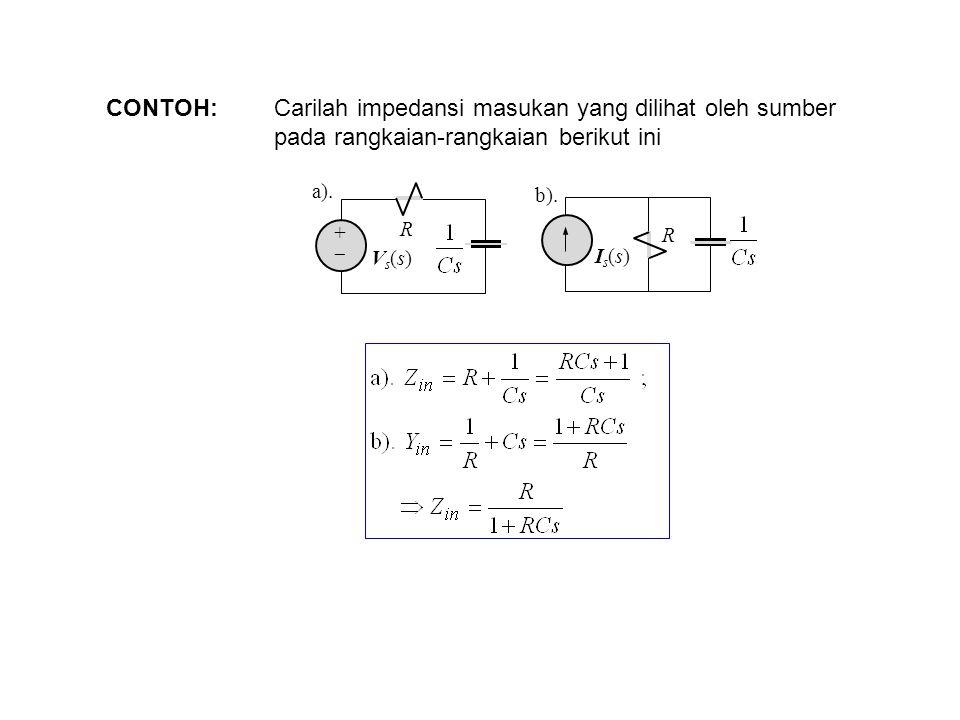 CONTOH: Carilah impedansi masukan yang dilihat oleh sumber pada rangkaian-rangkaian berikut ini a). R ++ Vs(s)Vs(s) R Is(s)Is(s) b).