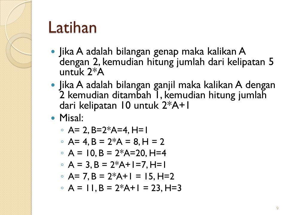 Latihan Jika A adalah bilangan genap maka kalikan A dengan 2, kemudian hitung jumlah dari kelipatan 5 untuk 2*A Jika A adalah bilangan ganjil maka kal
