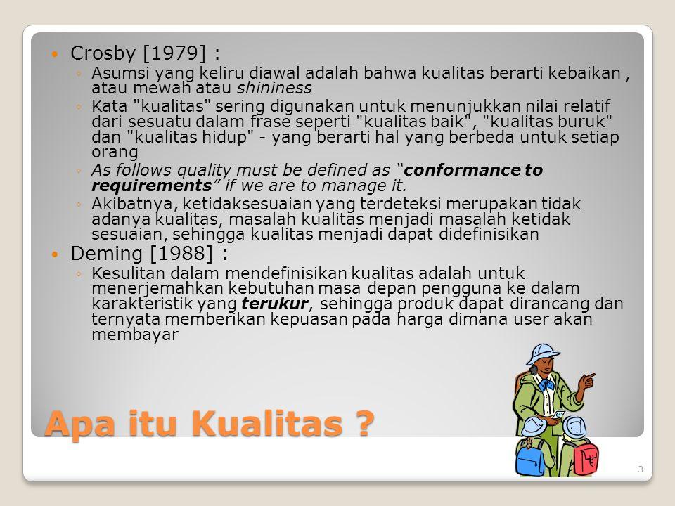 Apa itu Kualitas ? Crosby [1979] : ◦Asumsi yang keliru diawal adalah bahwa kualitas berarti kebaikan, atau mewah atau shininess ◦Kata