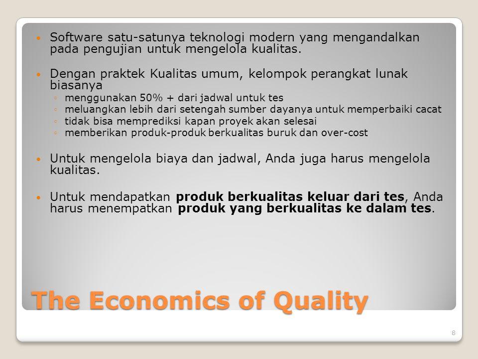 The Economics of Quality Software satu-satunya teknologi modern yang mengandalkan pada pengujian untuk mengelola kualitas. Dengan praktek Kualitas umu