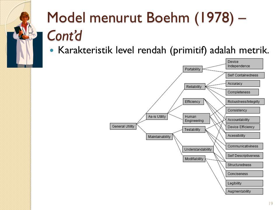 Model menurut Boehm (1978) – Cont'd Karakteristik level rendah (primitif) adalah metrik. 19