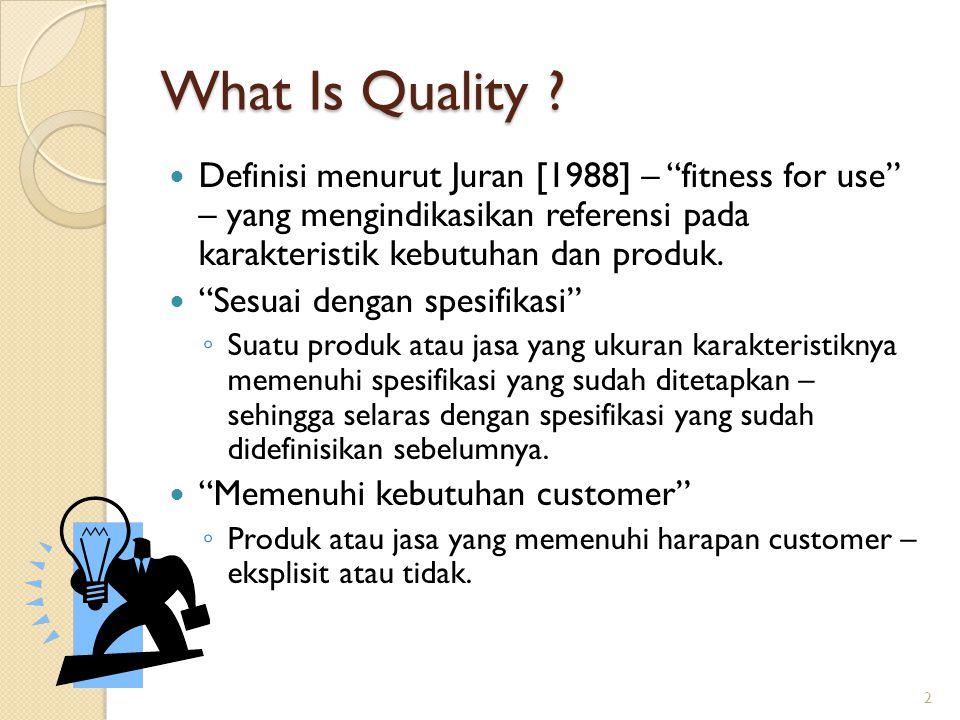 Dasar proses manajerial untuk pekerjaan pengelolaan kualitas Quality Planning ◦ Proses yang mengidentifikasi customer, kebutuhan customer, dan proses yang akan menerimakan produk dan jasa dengan atribut yang benar dan kemudian menfasilitasi pemindahan pegetahuan ini untuk menghasilkan kekuatan organisasi Quality Qontrol ◦ Proses dimana produk diuji dan dievaluasi dengan kebutuhan yang dinyatakan oleh customer ◦ Masalah yang terdeteksi kemudian diperbaiki.