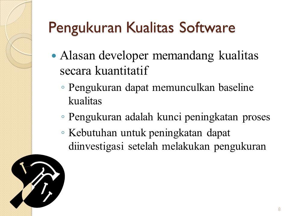 Pengukuran Kualitas Software Alasan developer memandang kualitas secara kuantitatif ◦ Pengukuran dapat memunculkan baseline kualitas ◦ Pengukuran adal