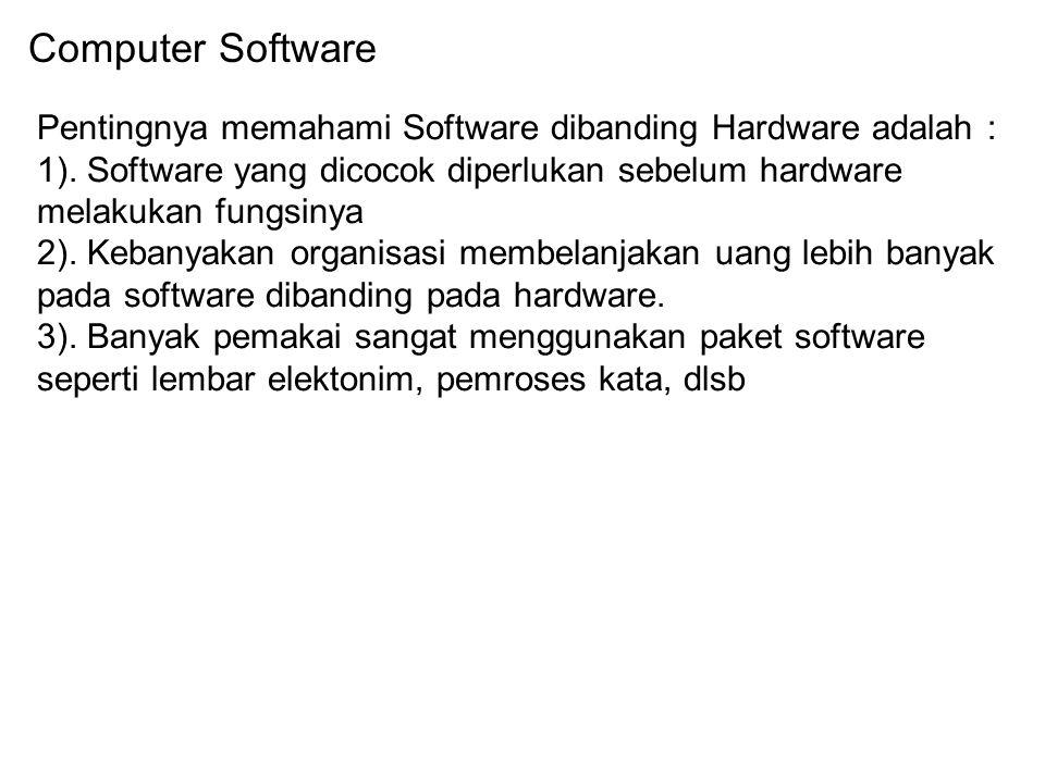Computer Software Pentingnya memahami Software dibanding Hardware adalah : 1). Software yang dicocok diperlukan sebelum hardware melakukan fungsinya 2