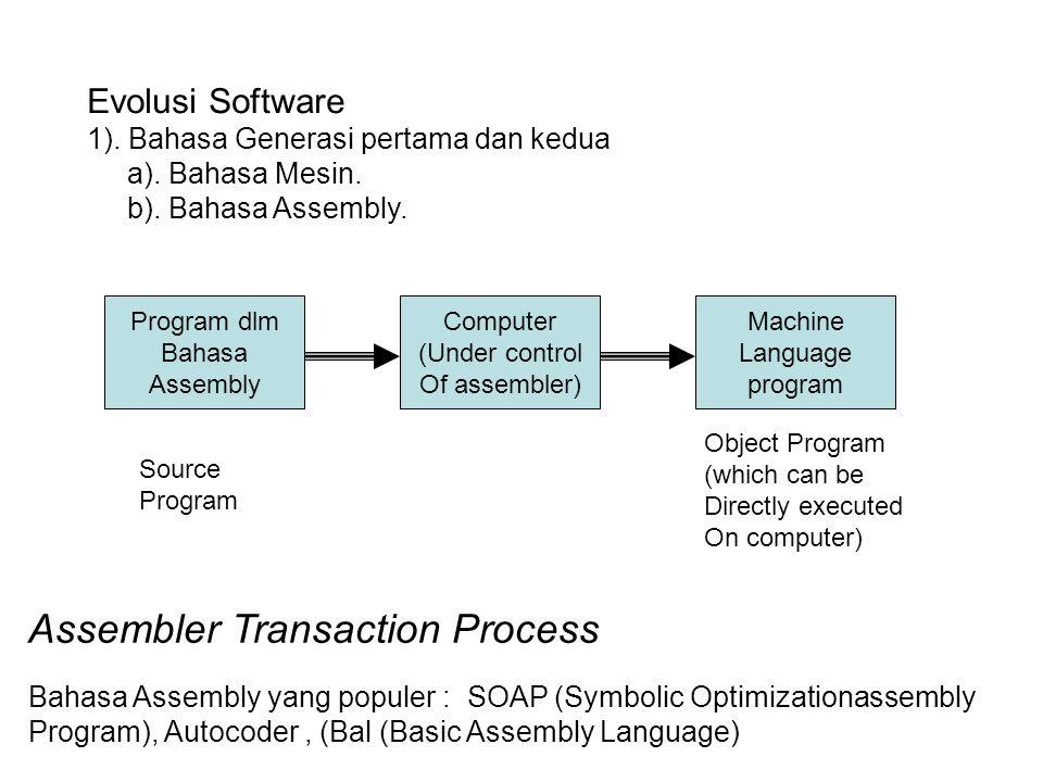 Evolusi Software 1). Bahasa Generasi pertama dan kedua a). Bahasa Mesin. b). Bahasa Assembly. Source Program Object Program (which can be Directly exe