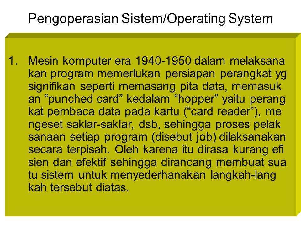 Pengoperasian Sistem/Operating System 1.Mesin komputer era 1940-1950 dalam melaksana kan program memerlukan persiapan perangkat yg signifikan seperti