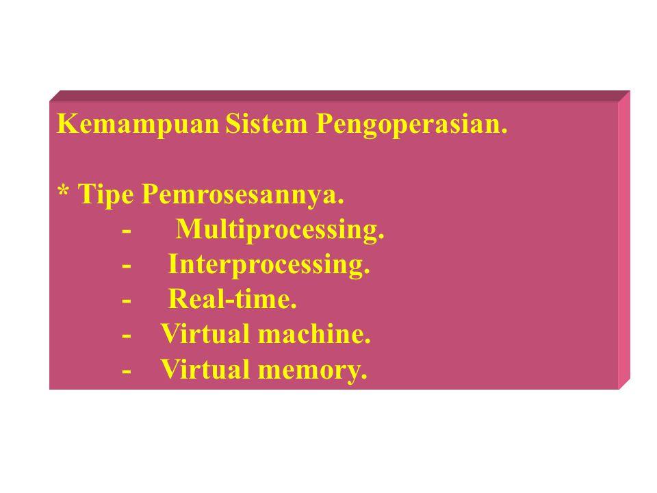 Kemampuan Sistem Pengoperasian. * Tipe Pemrosesannya. - Multiprocessing. - Interprocessing. - Real-time. - Virtual machine. - Virtual memory.