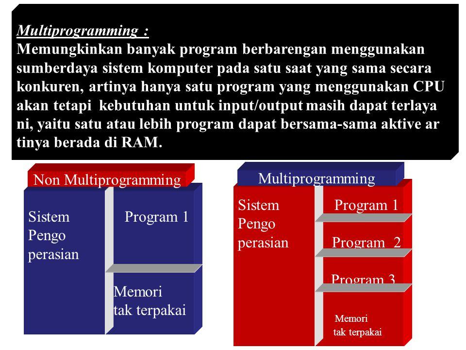 Multiprogramming : Memungkinkan banyak program berbarengan menggunakan sumberdaya sistem komputer pada satu saat yang sama secara konkuren, artinya ha