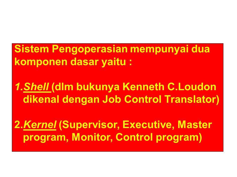 Sistem Pengoperasian mempunyai dua komponen dasar yaitu : 1.Shell (dlm bukunya Kenneth C.Loudon dikenal dengan Job Control Translator) 2.Kernel (Super