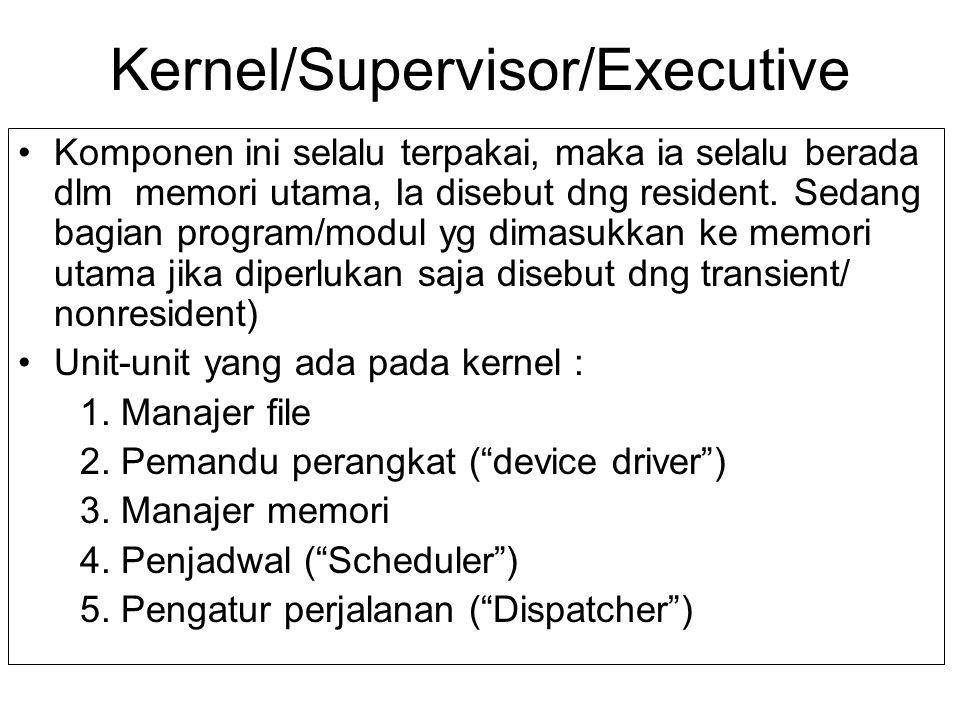 Kernel/Supervisor/Executive Komponen ini selalu terpakai, maka ia selalu berada dlm memori utama, Ia disebut dng resident. Sedang bagian program/modul