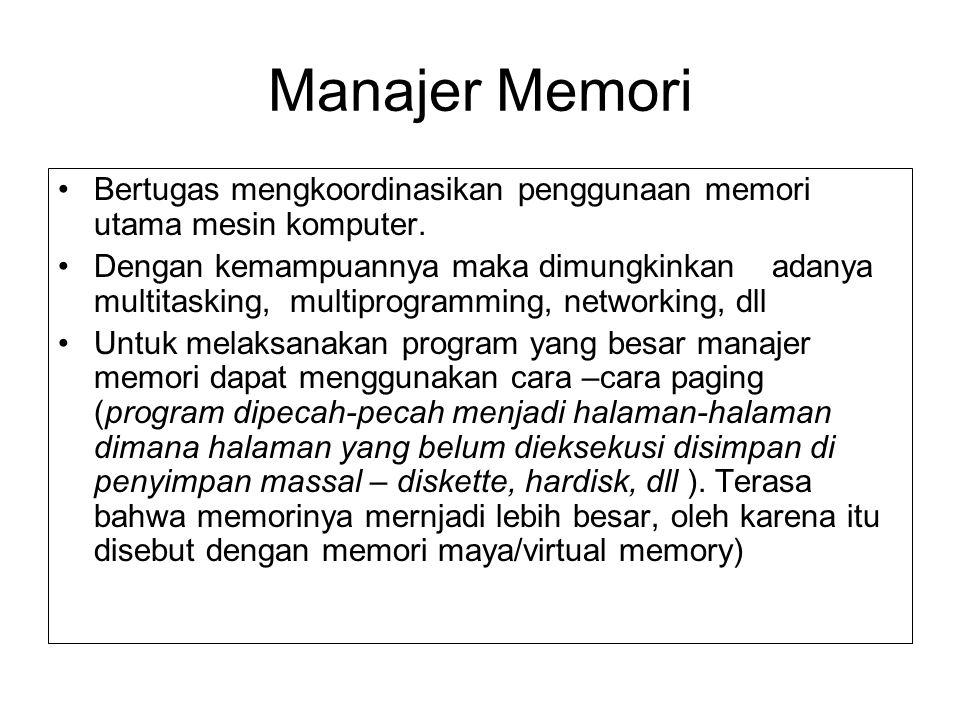 Manajer Memori Bertugas mengkoordinasikan penggunaan memori utama mesin komputer. Dengan kemampuannya maka dimungkinkan adanya multitasking, multiprog
