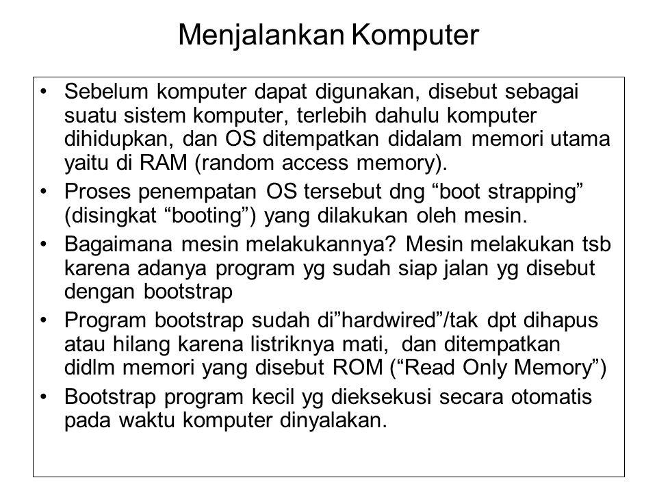 Menjalankan Komputer Sebelum komputer dapat digunakan, disebut sebagai suatu sistem komputer, terlebih dahulu komputer dihidupkan, dan OS ditempatkan