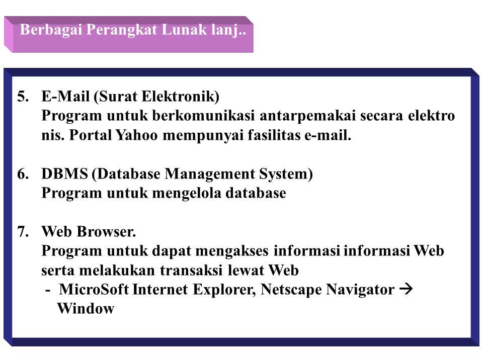 Berbagai Perangkat Lunak lanj.. 5. E-Mail (Surat Elektronik) Program untuk berkomunikasi antarpemakai secara elektro nis. Portal Yahoo mempunyai fasil