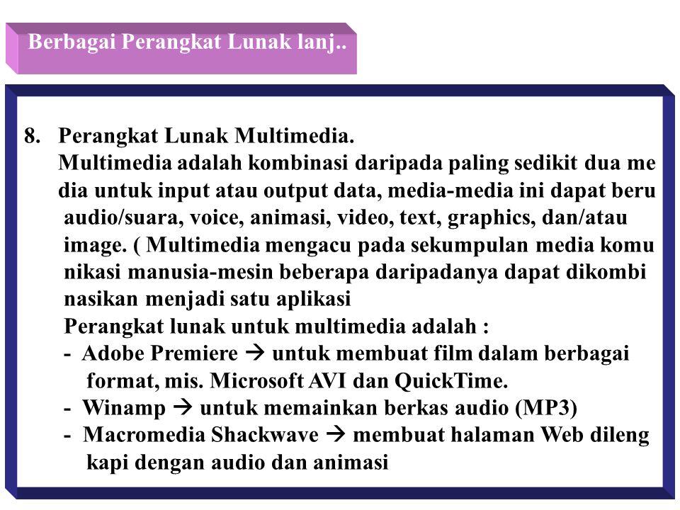 Berbagai Perangkat Lunak lanj.. 8. Perangkat Lunak Multimedia. Multimedia adalah kombinasi daripada paling sedikit dua me dia untuk input atau output