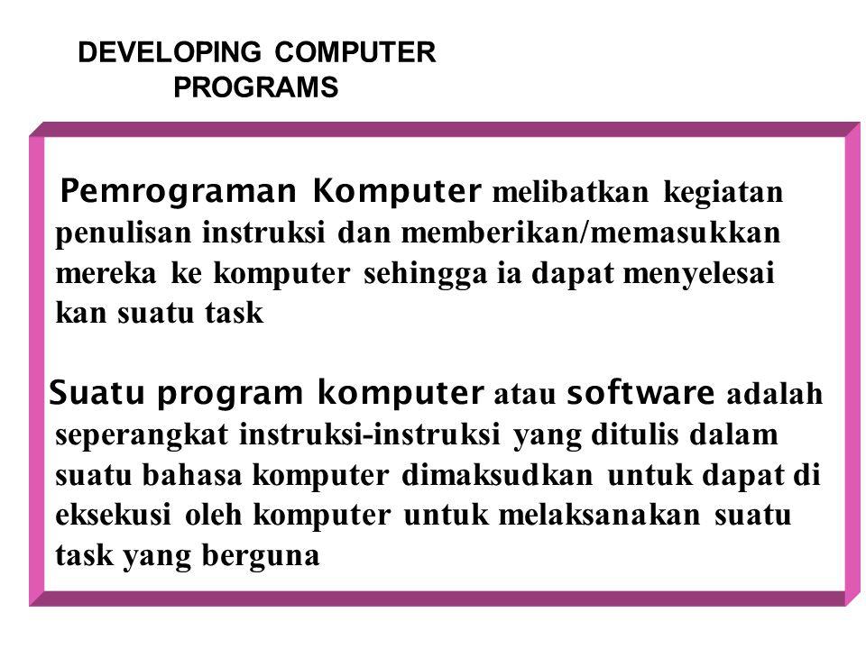 DEVELOPING COMPUTER PROGRAMS Pemrograman Komputer melibatkan kegiatan penulisan instruksi dan memberikan/memasukkan mereka ke komputer sehingga ia dap