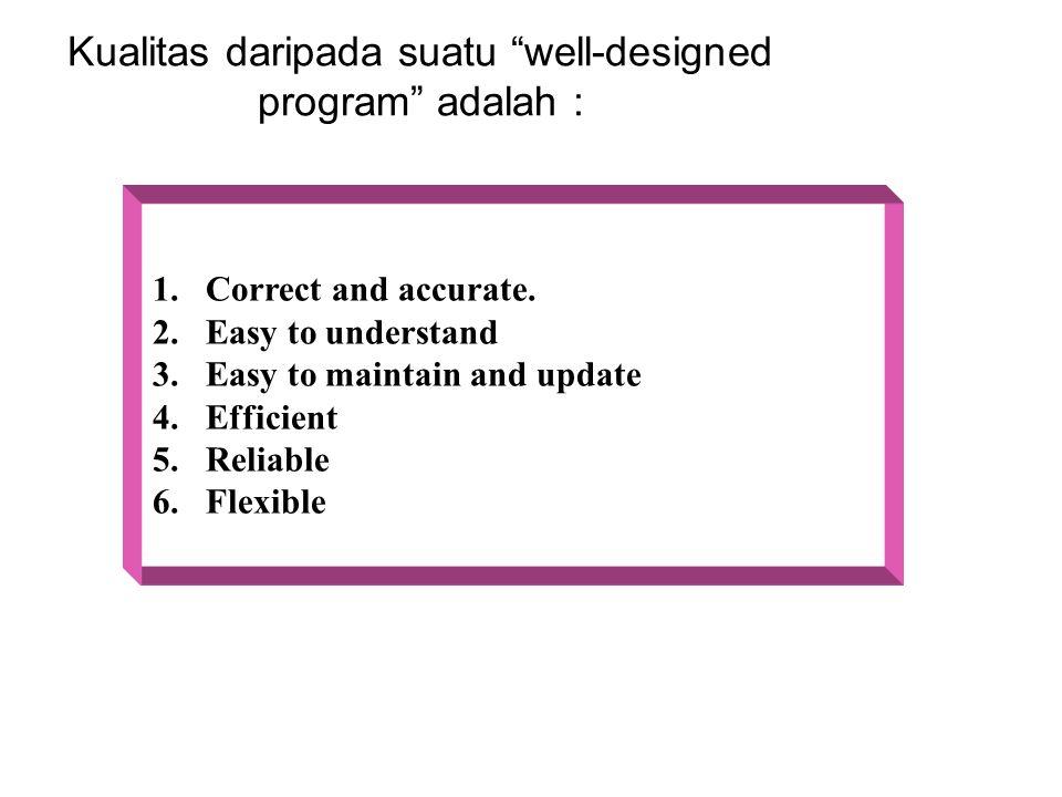 "Kualitas daripada suatu ""well-designed program"" adalah : 1. Correct and accurate. 2. Easy to understand 3. Easy to maintain and update 4. Efficient 5."