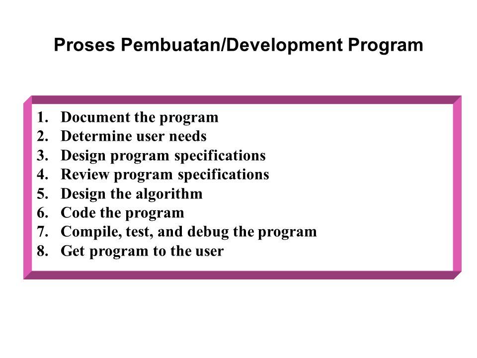 Proses Pembuatan/Development Program 1.Document the program 2.Determine user needs 3.Design program specifications 4.Review program specifications 5.D