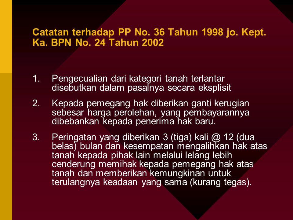 Catatan terhadap PP No. 36 Tahun 1998 jo. Kept. Ka. BPN No. 24 Tahun 2002 1.Pengecualian dari kategori tanah terlantar disebutkan dalam pasalnya secar