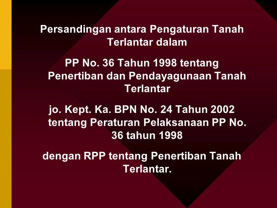 Persandingan antara Pengaturan Tanah Terlantar dalam PP No. 36 Tahun 1998 tentang Penertiban dan Pendayagunaan Tanah Terlantar jo. Kept. Ka. BPN No. 2